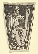 The cardinal virtue of Fortitude represented by a seated woman, her right hand on a column  (possibly a modern impression)