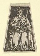 The cardinal virtue of Justice represented by a seated woman holding a pair of scales and a sword (possibly a modern impression)