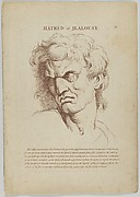 Hatred or Jealousy (from Heads Representing the Various Passions of the Soul; as they are Expressed in the Human Countenance: Drawn by that Great Master Monsieur Le Brun)
