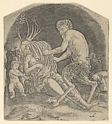A satyr about to remove drapery covering a Nymph