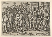 The triumph of a Roman Emperor; a young naked hero stands at centre on a pile of armour; a woman at right holds aloft a laurel wreath