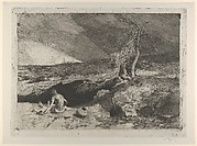 The Anchorite: a partially naked man seated at left in a landscape with what appears to be a long sheet unfolded over his knees
