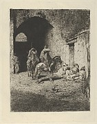 Guards on horseback at the entrance to the Kasbah in Tetuan, figures sitting on the ground
