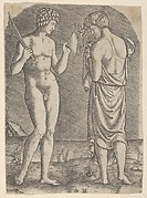 A naked man at left showing an axe to a woman at right