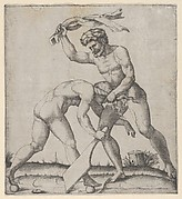 A naked man holding Fortune by the hair and whipping her