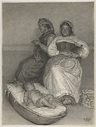 Two Seated Italian Women with a Baby in a Cradle