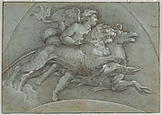 A Winged Putto Riding a Sea Horse and a Lion (after Raphael); verso; The Three Graces (after Raphael)