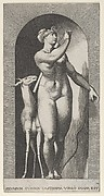 Plate 12: Diana standing in a niche, twisting to her left and pulling an arrow out of a quiver, with a deer to her right, from a series of mythological gods and goddesses