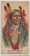 White Shield, Southern Cheyenne, insert card from the Indian Chiefs series (D46), issued by the Weber Baking Company