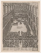 Speculum Romanae Magnificentiae: A Papal Gathering in the Sistine Chapel, Michelangelo's Last Judgement on the back wall; the crowd looks on through a screen