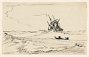 A Storm at Sea with a Large Ship and a Small Boat with Two Figures