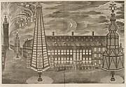 Relation de l' Inauguration Solemnelle de Sa Sacrée Majesté Imperiale et Catholique Charles VI .. comme Comte de Flandres. [Illuminations at the Hôtel de Ville and Fireworks behind the Belfry, Ghent, October 19, 1717]