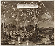 Celebration for the Elector Johann Georg II, Leipzig, July 8, 1667: Fireworks Display by Night