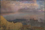 View of the Bay of Naples with Vesuvius, Smoking, in the Distance (Evening)