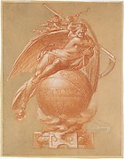 Father Time on a Globe; Design for a Clock