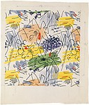 Fabric Design, abstract pattern with flower shapes