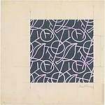 Fabric Design, leaf, branch, and circle motif