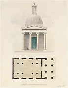 Church of the French Protestants (Eglise Français du Saint Esprit), New York (front elevation and plan)