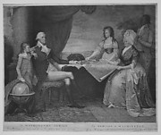 The Washington Family: George Washington, His Lady, and her Two Grandchildren by the Name of Custis (title repeated in French)