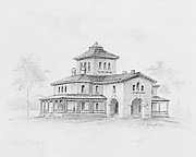 Samuel F. B. Morse House, Poughkeepsie, New York (perspective and plan)