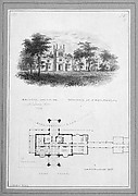 """Belmead"", James River, Virginia, Residence of Philip St. George Cocke (vignette of riverside elevation and plan)"