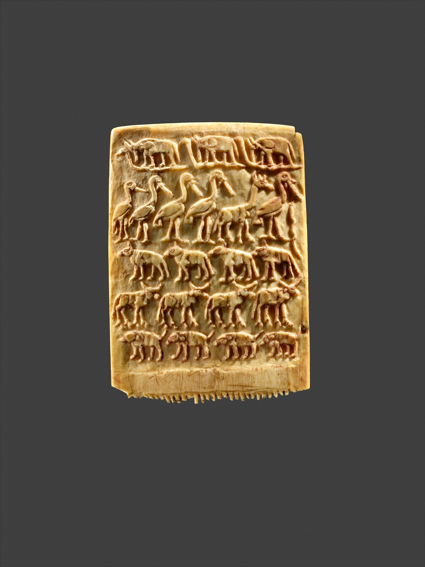 Authentic egyptian furniture -  Hair Comb Decorated With Rows Of Wild Animals