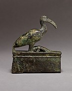 Ibis on a shrine shaped box, probably for an animal mummy