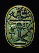 Scarab with Figure Upholding a Sacred Boat