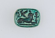 Plaque Bead with Name of Thutmose IV and a Sphinx on the Reverse