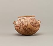 Squat decorated ware jar depicting spirals