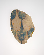 Fragment from a wall with painted feather pattern