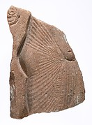 Torso of king with hand of queen offering behind