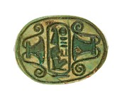 Scarab Inscribed Lord of the Two Lands, Maatkare (Hatshepsut) Flanked by Lotus Flowers