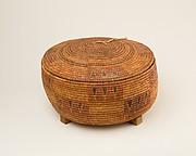 Circular Lided Basket on a Wood Stand