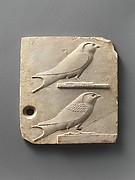 Relief plaque with two swallows, opposite side two quail chicks