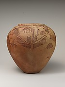 Decorated ware jar with boats and human figures and falcon-styled lugs