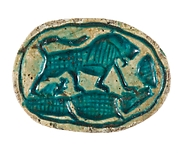 Canaanite Scarab with a Lion over a Crocodile