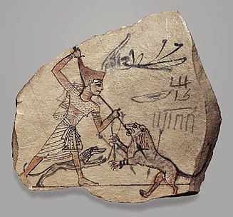Artist's Sketch of Pharaoh Spearing a Lion