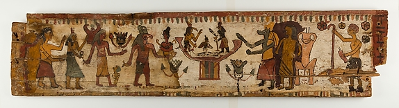 Coffin panel with paintings of funerary rituals and gods