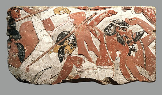 Block from a relief depicting a battle