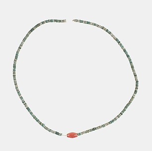 Necklace with carnelian barrel bead
