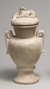 Two Handled Jar and Lid decorated with a Resting Calf