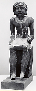 Seated Merti with echelonned wig