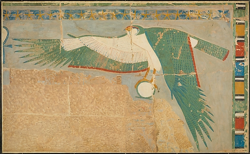 Facsimile of a falcon protecting the king