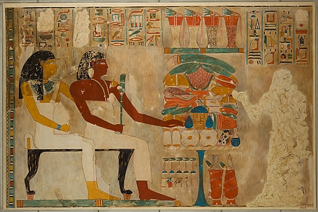 Rekhmire and Mother Receiving Offerings, Tomb of Rekhmire
