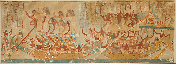 Boats with Mourners and Provisions, Tomb of Neferhotep