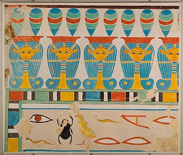 Painted Restoration of the Hathor-Head Frieze in the Tomb of Senenmut