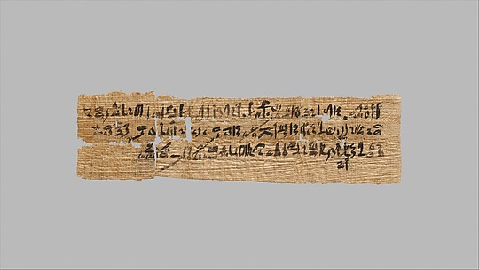 Letter written in hieratic script on papyrus