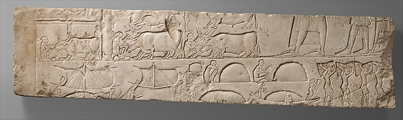 Relief Depicting a Man Inspecting His Stables; Ships Unloading Merchandise