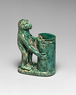 Kohl Tube in the Shape of a Monkey Holding a Vessel